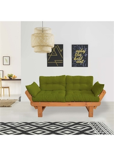 Woodesk Toro Masif Tik-Yeşil Renk 2Li Kanepe Cpt8350-210 Yeşil